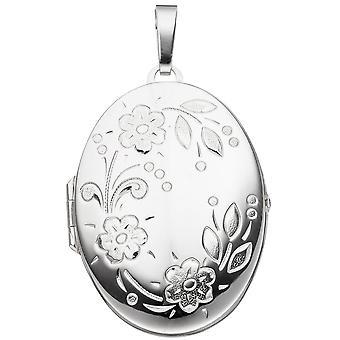 925 /-s medaljong medaljong sølv blomst silver Medallion