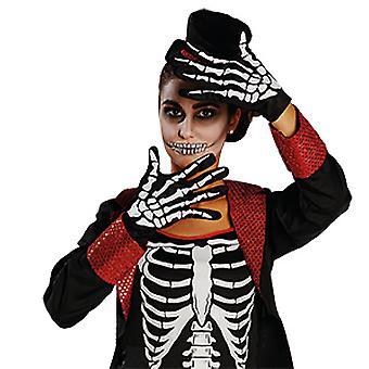 Luvas esqueletos osso acessório luva carnaval Halloween