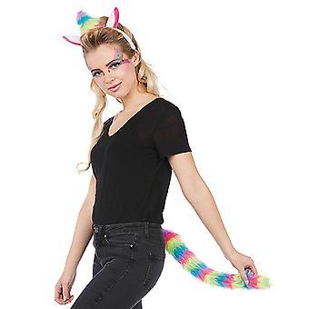 Einhorn instellen 2 delen hoofdband met oren en staart van de hoorn Unicorn kostuum volwassen