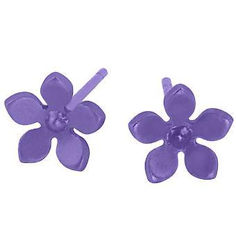 Ti2 Titanium 8mm Five Petal Stud Earrings - Imperial Purple