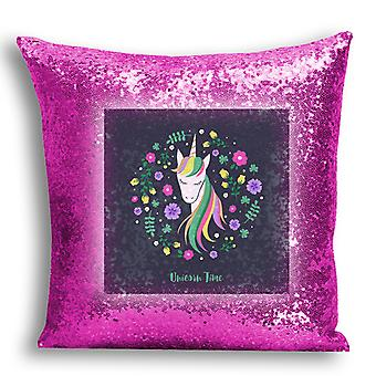 i-Tronixs - Unicorn Printed Design Pink Sequin Cushion / Pillow Cover for Home Decor - 15