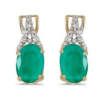 LXR 14k keltainen kulta soikea smaragdi ja timantti korvakorut 1.12ct