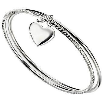 Inizii cuore doppio diamante taglio Bangle - argento