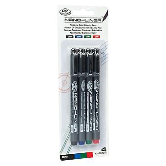 Royal & Langnickel Nano-Liner Fine Line Drawing 0.5mm Pen Set of 4 Colours