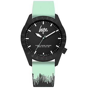 Hype | Mint zwarte siliconen band | Zwarte wijzerplaat | HYU008AU horloge