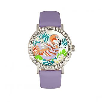 Bertha Luna Mother-Of-Pearl Leather-Band Watch - Lavender