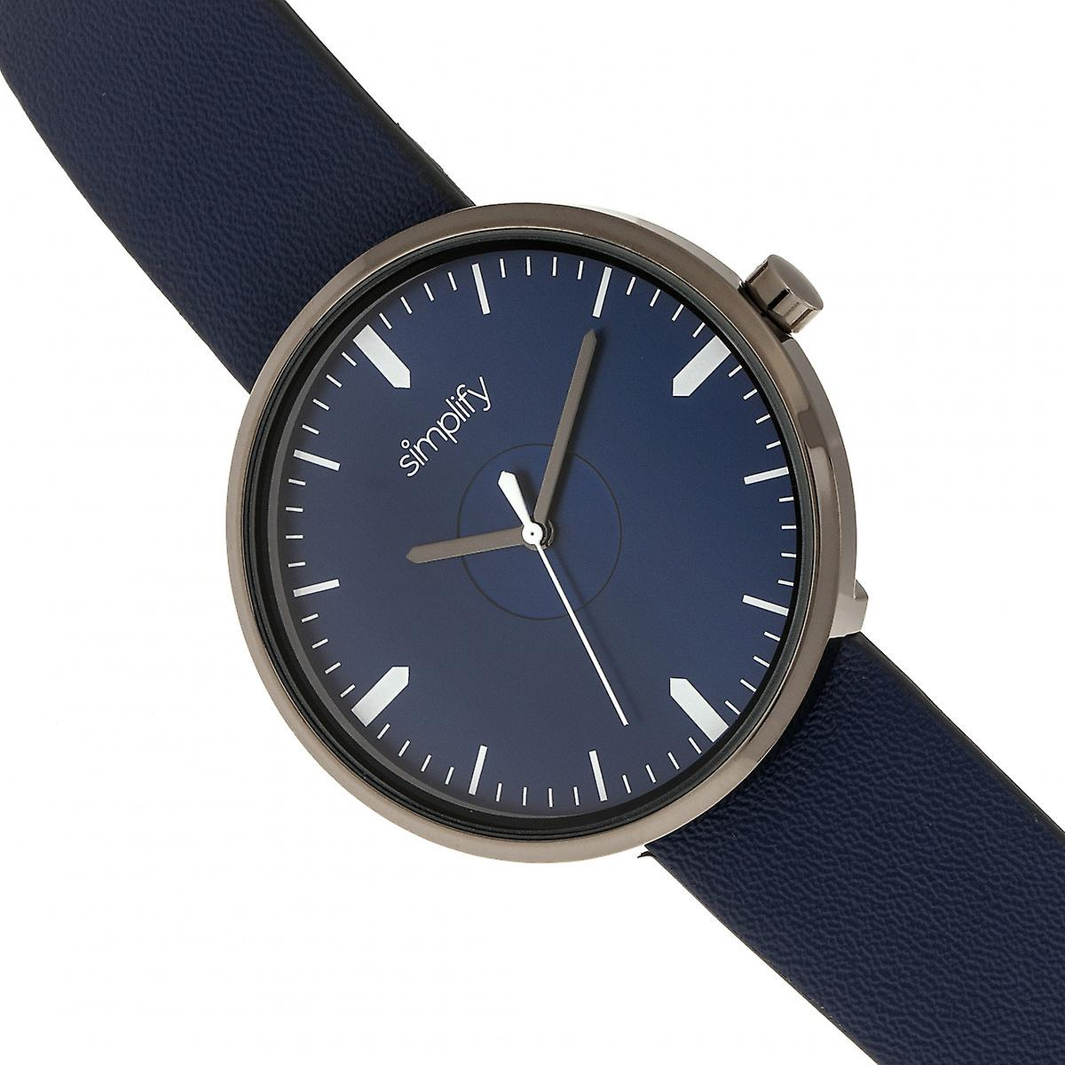 Simplify The 4500 Leather-Band Watch - Gunmetal/Navy