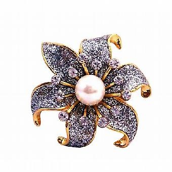 Plaqué or scintillant tournesol zircon cubique blanc Pearl Broche Faux