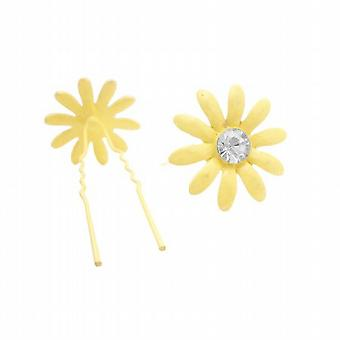Metal Hair Pin Yellow Flower Hair Pin w/ Matching Crystals