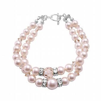 Swarovski-Elfenbein Perlen Golden Shadow Kristalle doppelte angeschwemmte Armband
