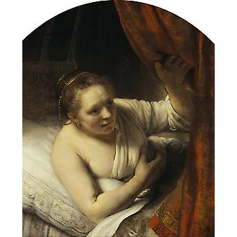 Young Woman in Bed, Rembrandt, 50x40cm