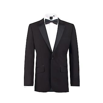 Dobell Mens zwarte smoking Dinner Jacket Slim Fit piek revers
