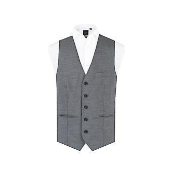 Dobell Mens Grey Sharkskin Waistcoat Regular Fit 5 Button-38