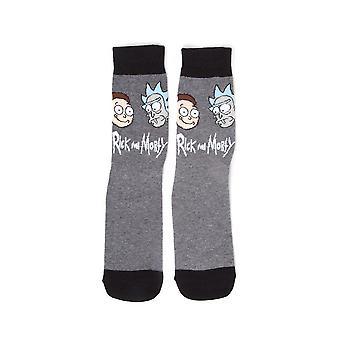 Rick og dødelig sokk store ansikter mannskapet sokker grå (CR161255RMT-39/42)
