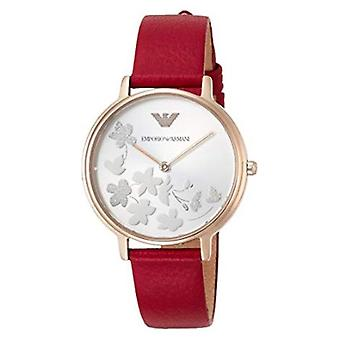 Emporio Armani Ar11114 Red Leather Silver Sunray Dial Ladies Watch