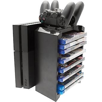 Games storage tower & twin charging dock (ps4)
