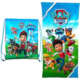 2i1 Paw Patrol Towel bath towels 120x60cm + Gym bag 40x31cm