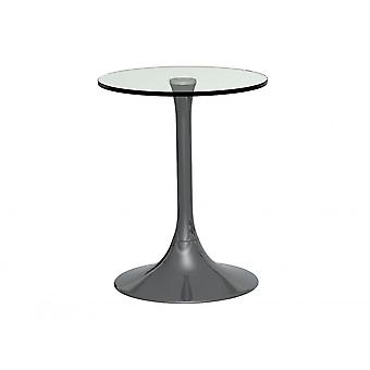 Gillmore Pedestal Side Table Clear Glass And Smoked Chrome
