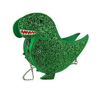 Verde glitter sparkly dinossauro crossbody bolsa com alça de corrente removível