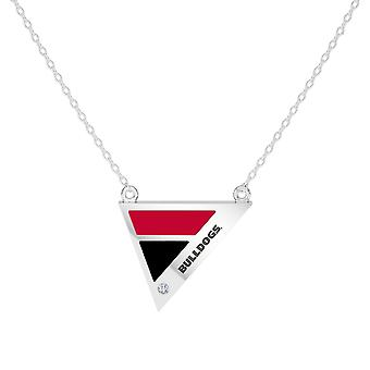 University Of Georgia Engraved Sterling Silver Diamond Geometric Necklace In Red & Black