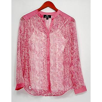 Dennis Basso topp XXS Python Skriv langermet ren skjorte camisole rosa A263334