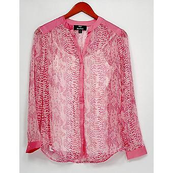 Dennis Basso Top XXS Python Print Long Sleeve Sheer Shirt Camisole Pink A263334