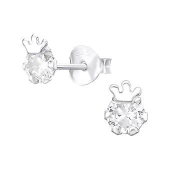 Couronne - 925 Sterling Silver Cubic Zirconia Ear Studs - W37009x