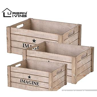 Set of 3 wooden Box with out lids Natural