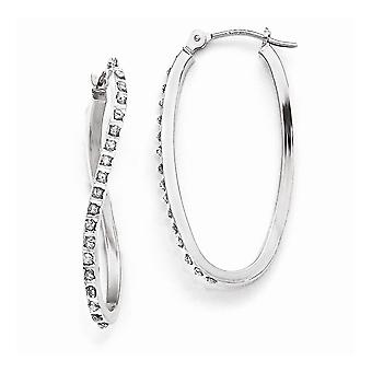 14k White Gold Polished Hinged post Diamond Fascination Twist Hinged Hoop Earrings Measures 30x1mm Jewelry Gifts for Wom
