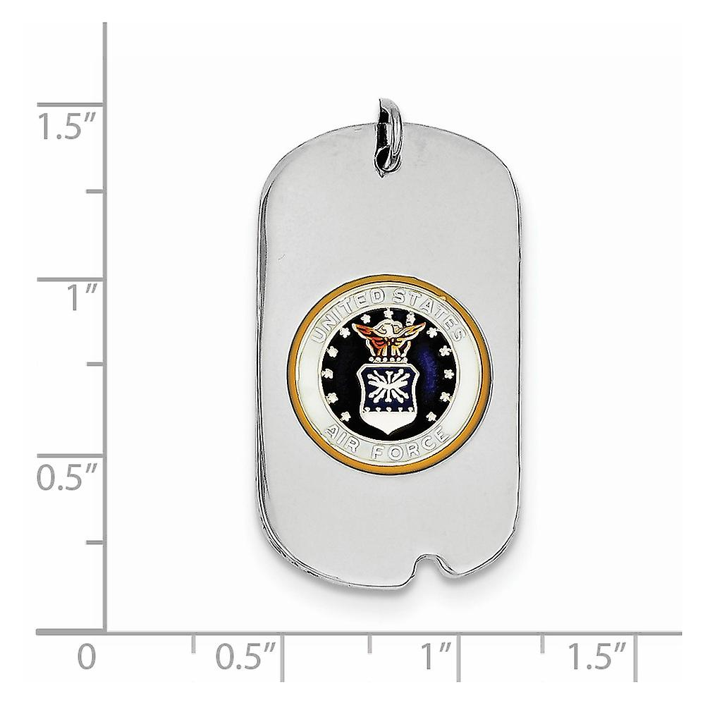 925 Sterling Silver Enamel Polished Engravable US Air Force Animal Pet Dog Tag Charm Pendant Necklace Jewelry Gifts for