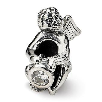 925 Sterling Silver Polished Antique finish Reflections April CZ Cubic Zirconia Simulated Diamond Antiqued Bead Charm Pe