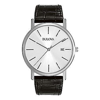 Bulova 96B104 analog quartz wrist watch Mens, leather, black