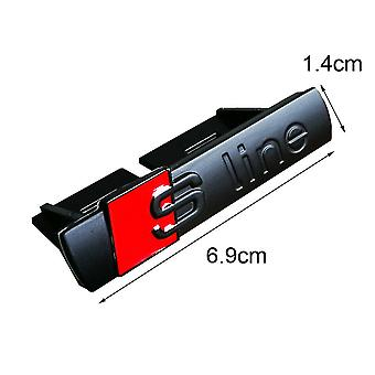 Matt Black/Red Audi ABS S Line Grill Badge Emblem With Clips For All S, Q, A, RS Ranges Models