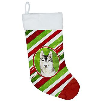 Siberian Husky Christmas Candy Stripe Christmas Stocking