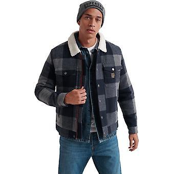 Superdry Hacienda Wool Check Jacket Blue 06