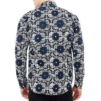 Rohkea sielu miesten splat pitkähihainen nappi kaulus paita pusero-laivastonsininen/valkoinen