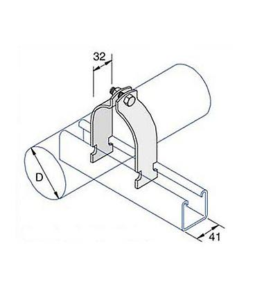 Space Saver Clip (od 46.8 - 50.8 Mm ) (1124 ) For Channels Stainless Steel (as Unistrut / Oglaend)