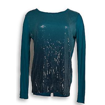 Kelly by Clinton Kelly Women's Top Long Sleeve Sequin Tee Blue A271958