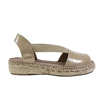 Toni Pons Evon-XA Taupe Patent Leather Womens Pull On Espadrille Sandals