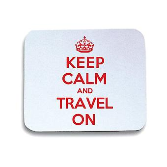 Tappetino mouse pad bianco wtc0013 keep calm travel on