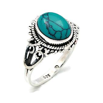 Ring Zilver 925 Sterling Zilver Turquoise Blue Green Stone (Nr: MRI 117)