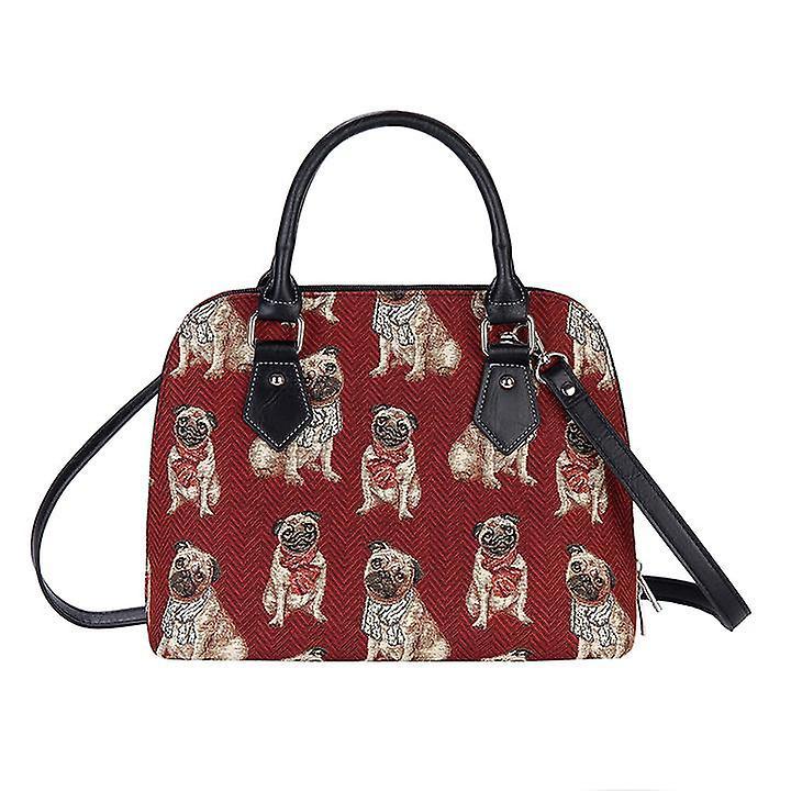 Pug top-handle shoulder bag by signare tapestry / conv-pug