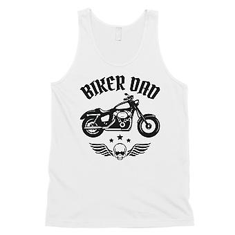 Biker Dad Mens White Strong Thoughtful Cool Sleeveless Top Dad Gift