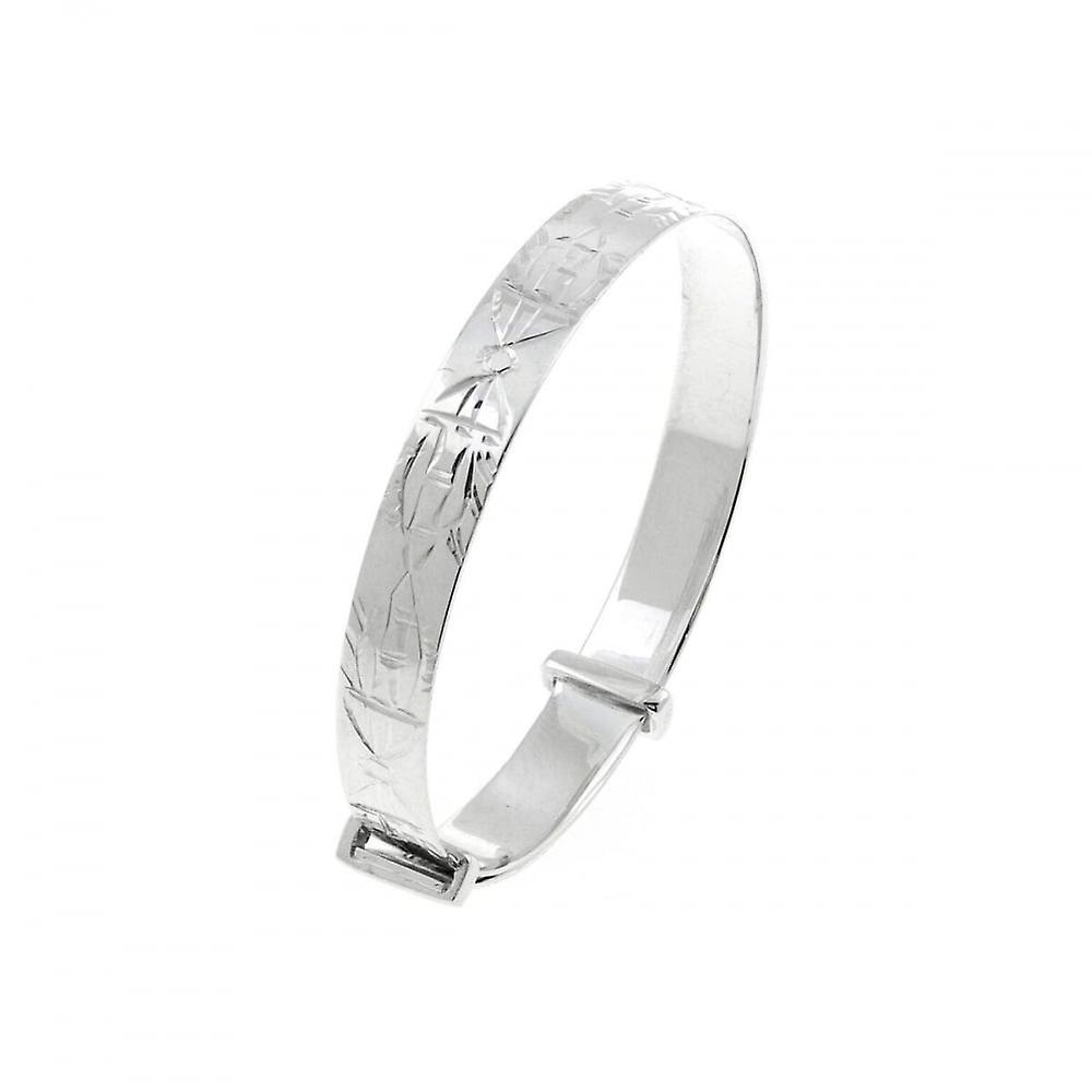 Eternity Sterling Silver Engraved Expanding Kids/Baby Bangle