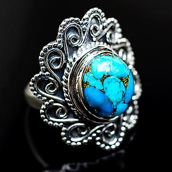 Large Blue Copper Composite Turquoise 925 Sterling Silver Ring Size 6.25  - Handmade Boho Vintage Jewelry RING984510
