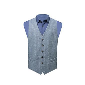 Dobell Mens Light Blue Tweed Waistcoat Regular Fit Herringbone Detail