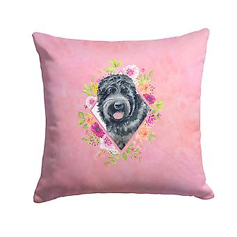 Russian Black Terrier Pink Flowers Fabric Decorative Pillow