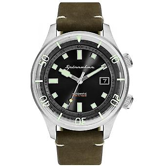 Watch Spinnaker SP-5057-02 - Bradner green man black dial steel case leather strap