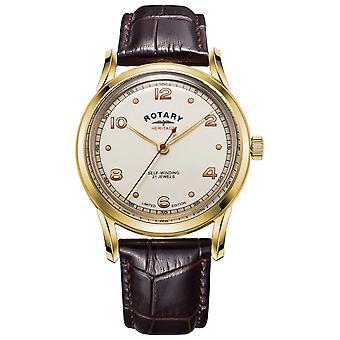 Rotary Miesten | Rajoitettu painos | Kulttuuriperintö | Ruskea nahkahihna GS05143/03 Watch