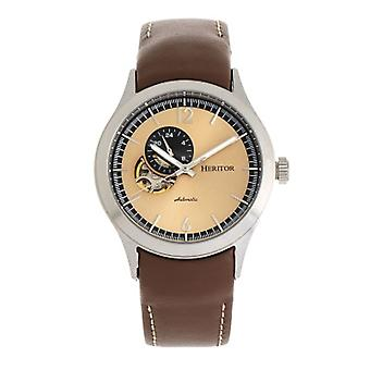 Heritor Automatic Antoine Semi-Skeleton Leather-Band Watch - Silver/Tan
